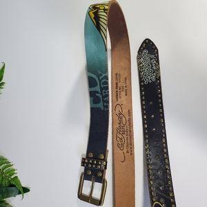 Ed Hardy Belt Genuine Leather Mens Large